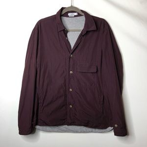 J. Lindeberg burgundy lined button down shirt L B4